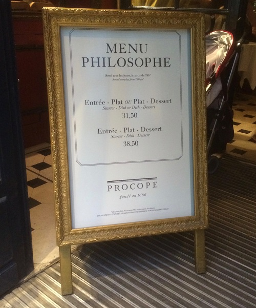 Menu Philosophe at Le Procope